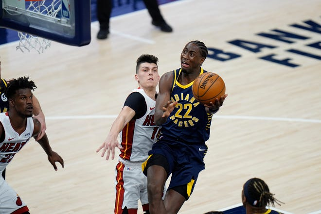 Indiana Pacers guard Caris LeVert (22), who is 12-for-40 in his last 3 games, still hasn't been himself since returning from kidney surgery. (AP Photo/AJ Mast)