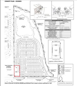 A concept plan shows the layout of a proposed 124-home subdivision in southeast Shelby County.