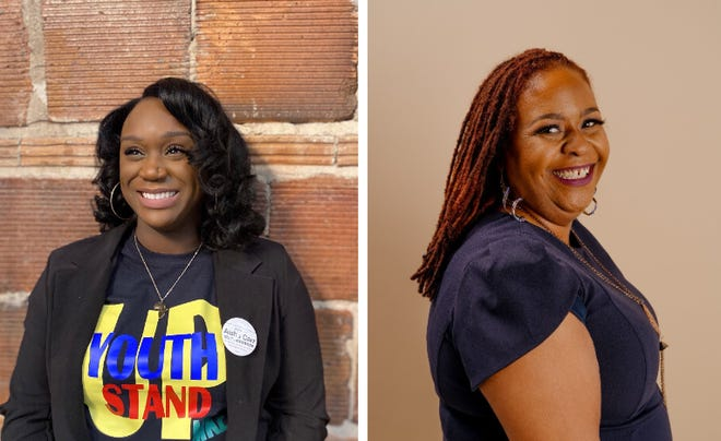 Milwaukee School Board candidates Aisha Carr, left, and Dana Kelley, right