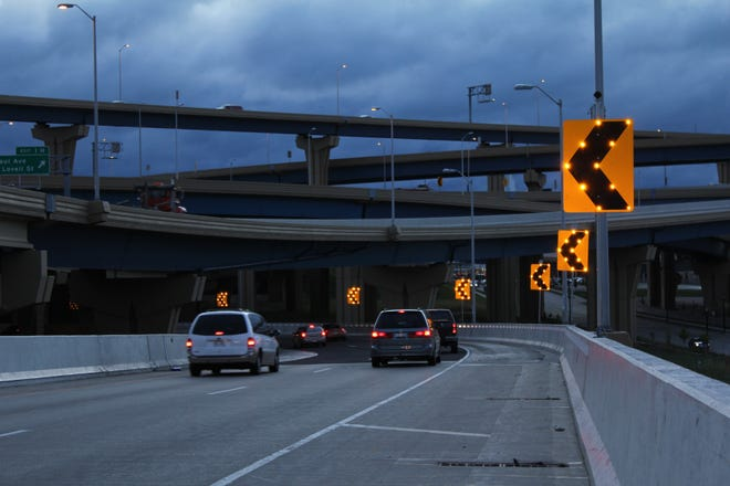 Left turn signs are illuminated on the Marquette interchange. TAPCO is a leader in providing signage and guidance for safety on the roads.