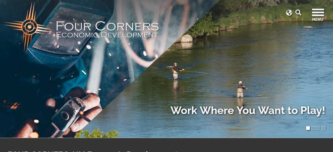 A screenshot of the new Four Corners Economic Development Inc. website, which was launched April 1.
