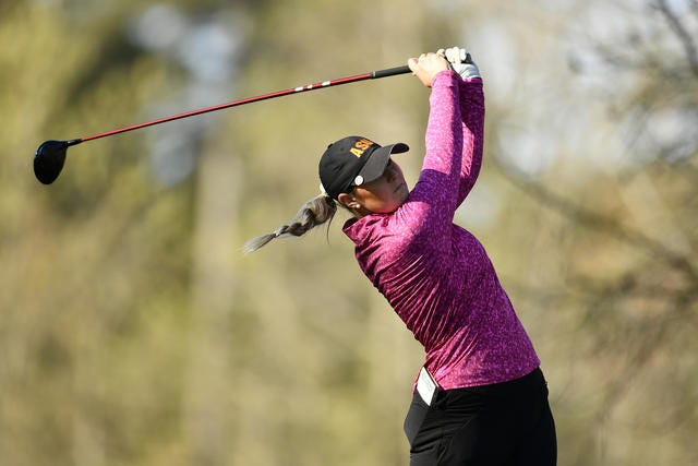 Olivia Mehaffey, a four-time All-American at Arizona State, shot a second-round 69 at the Augusta National Women's Amateur on Thursday.