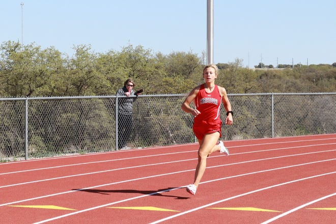 Christoval High School's Allison Vaughn competes in the preliminaries of the 400 meters during the District 7-2A track and field meet Thursday, April 1, 2021, in Christoval.