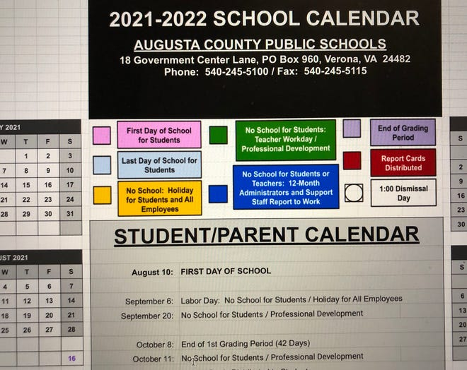 The 2021-22 calendar for Augusta County Public Schools was approved Thursday night.