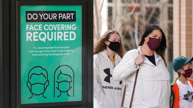A sign requiring face masks is seen at City Creek Center Monday, March 8, 2021, in Salt Lake City. A statewide mask mandate in Utah is scheduled to expire Saturday, but some businesses and government facilities have said face coverings will be still required.