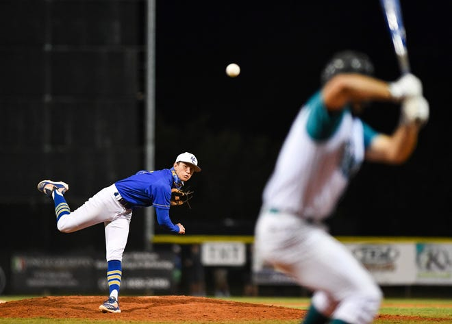 Martin County's Stephen Bartolotta (6) throws a pitch in the bottom of the fourth inning against Jensen Beach during the annual Ryan Johansen Memorial Baseball Game Thursday, April 1, 2021, in Jensen Beach. The game honors Johansen, the former Martin County standout who passed away in 2006 in an ATV accident at the age of 25. Martin County won 5-4.
