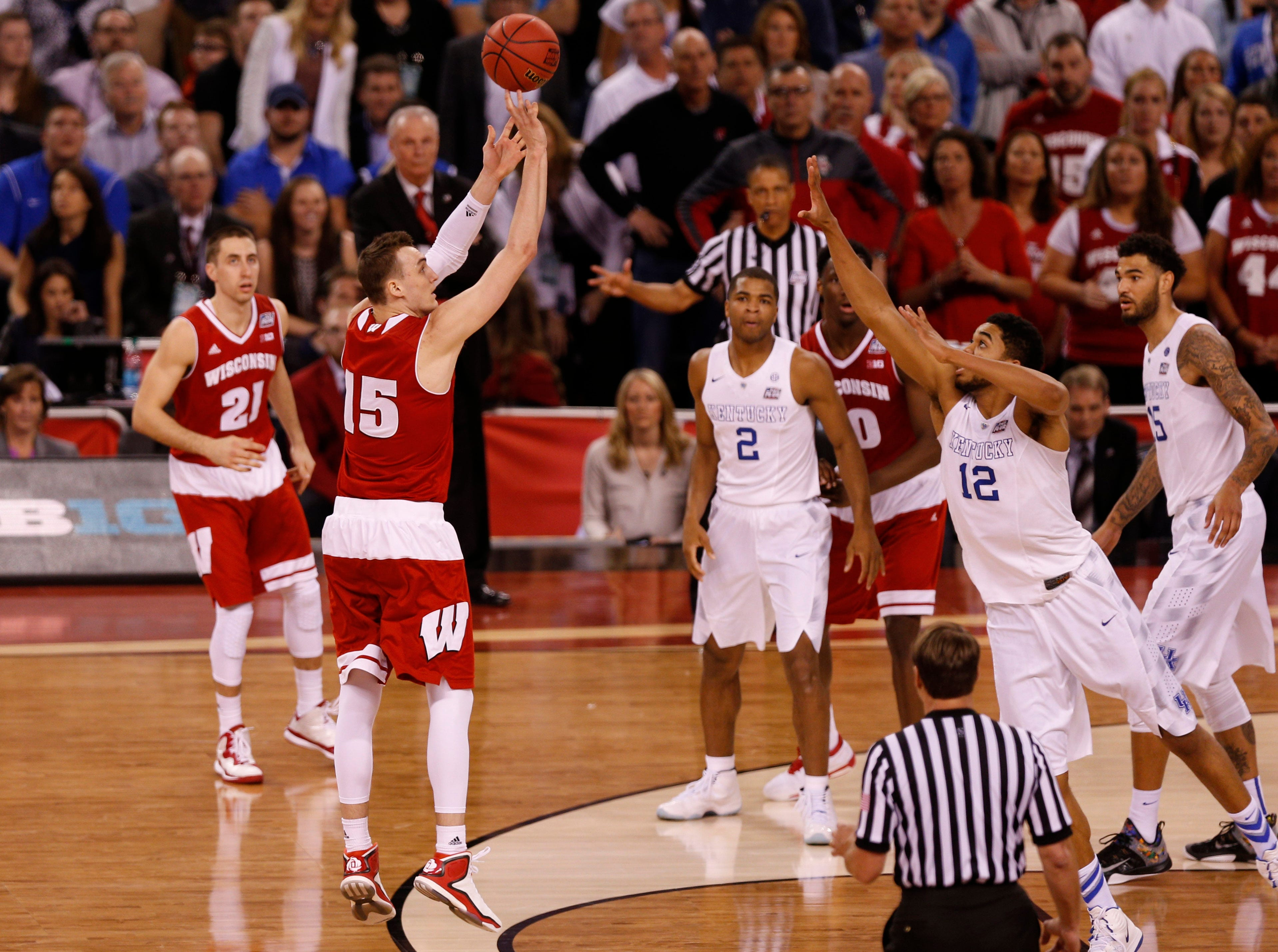 Wisconsin's Sam Dekker hits a 3-point shot to give the Badgers the lead late against Kentucky in the 2015 national semifinal.
