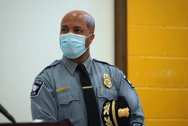 Minneapolis police Chief Medaria Arradondo speaks to reporters at the start of the trial of former Minneapolis police Officer Derek Chauvin, who is accused of killing George Floyd, sparking a wave of protests and riots nationally.