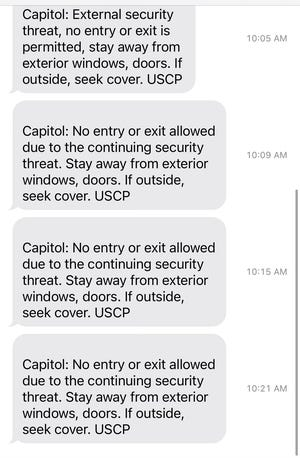 Text messages received surrounding events at the Capitol building on April 2, 2021. Timestamps reflected in text messages are PDT.
