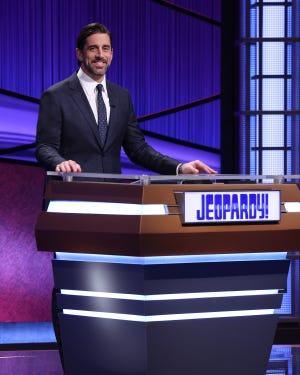 "Green Bay Packers quarterback Aaron Rodgers is the latest guest host of ""Jeopardy!"" He'll read clues on episodes airing April 5-16."