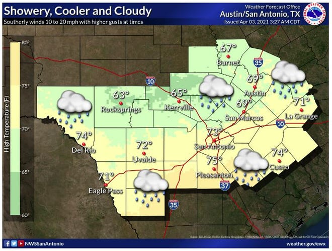Showery, cooler with cloudy skies. Highs in the lower 60s to mid 70s. Southeast winds are forecast to dominate the area with elevated winds up to 20 mph and higher gusts. Rainfall amounts are expected to be limited with a few spots getting up to one quarter inch along the escarpment and Hill Country area and up to one inch through Sunday.