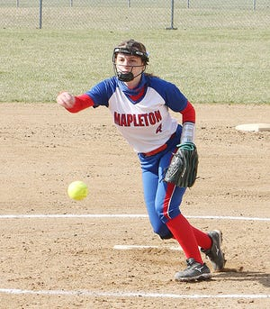 Mapleton's Baylee Lowery throws a pitch against Wellington during the first game of a softball doubleheader Saturday at Mapleton High School.