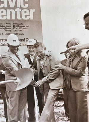 The 1977 groundbreaking for the Augusta-Richmond County Civic Center brought out a playful mood.