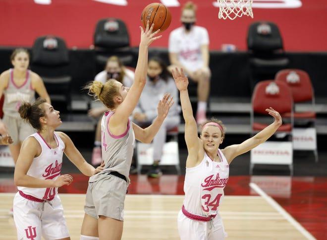 Ohio State forward Dorka Juhasz, here scoring against Indiana on Feb. 27, averaged 14.6 points and 11.1 rebounds last season.