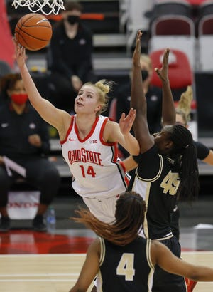 Ohio State forward Dorka Juhasz drives to the basket against Purdue on Feb. 18.