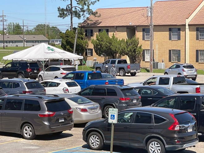 Cars line up at the Warren J. Harang Auditorium on Thursday, April 1 for the mass vaccination event put on by Thibodaux Regional Medical Center. Another event is scheduled for Thursday, April 8.