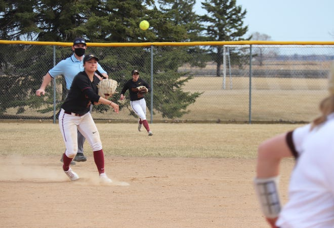 Rachel Jones throws a runner out in a game against Southwest Minnesota State on April 3. Jones and the Golden Eagles were swept by Winona State on Sunday.