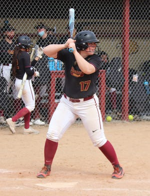 Cassie Querrey at bat in a game against Southwest Minnesota State on April 3. Querrey drove in all three of Minnesota Crookston's runs in a 3-0 win over Upper Iowa on Saturday.