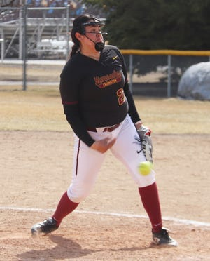 Sofia Gombos pitches during a game against Southwest Minnesota State on April 3. Gombos pitched a one-run complete game win Saturday against Minnesota State Moorhead.