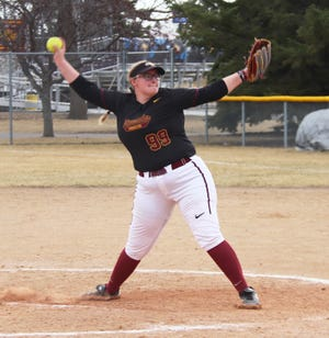Kamryn Frisk winds up to pitch during an April 3, 2021 game against Southwest Minnesota State. Frisk is one of just five Alaskans playing college softball at the Division II level.