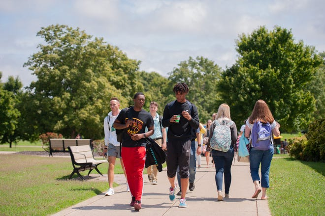 Students return for Welcome Week at Columbia State Community College's Maury County campus in Columbia, Tenn., in the summer of 2019.