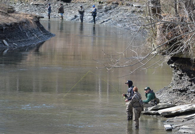 Anglers fish on April 3, opening day of Pennsylvania trout season, at Walnut Creek in Fairview Township.