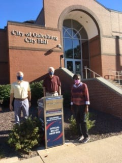Mail-in ballots can be put in the drop-off box in front of Galesburg City Hall starting at 8 a.m. Monday.