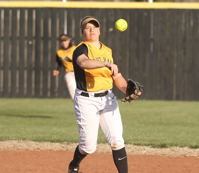 Katie Adler throws over to first base during a game earlier this season. [File photo/HDN]