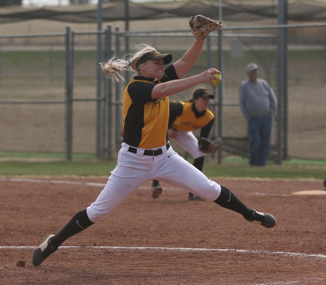 FHSU's Michaelanne Nelson winds up for a pitch during Game 1 against Pittsburg State on Friday.