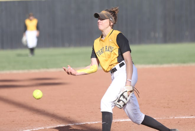 FHSU's Hailey Chapman releases a pitch during Game 2 against Pittsburg State.