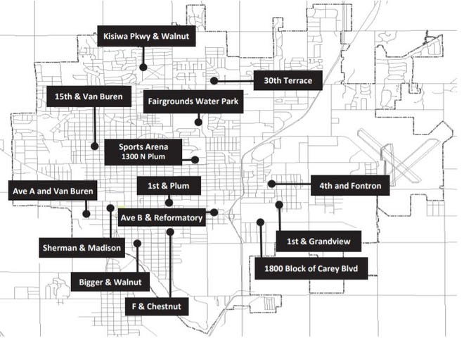 This map shows planned locations for dumpster during the citywide cleanup