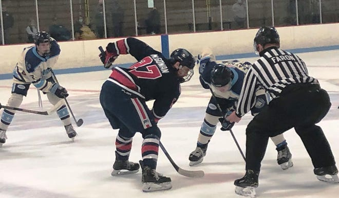 The Peoria Mustangs beat the St. Louis Jr. Blues 4-2 in Game 2 to sweep their best-of-3 NA3HL playoff series on at Affton Ice Rink in St. Louis on 4-2-21.