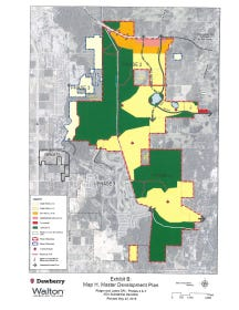 The master plan for Phases II and III of the Ridge Wood Lakes development.