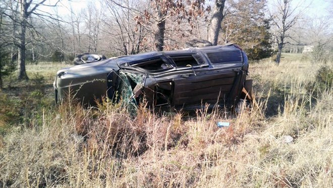 This photo provided by the Missouri State Highway Patrol shows the scene of an accident in Camden County on April 2 that left one man dead and another seriously injured.