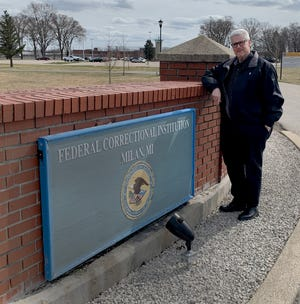 Deacon Tracy Esper is pictured outside the Federal Correction Institution in Milan, where he practices his ministry.
