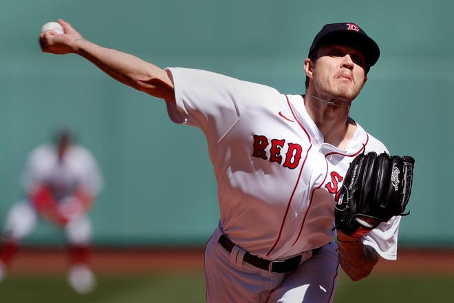 Boston Red Sox's Tanner Houck pitches during the second inning of a baseball game against the Baltimore Orioles, Saturday, April 3, 2021, in Boston. (AP Photo/Michael Dwyer) ORG XMIT: MAMD101