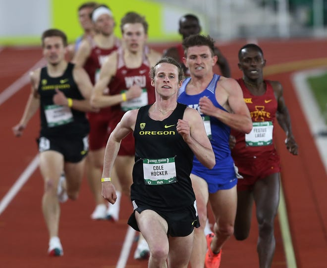Oregon's Cole Hocker, center, wins the 1,500-meter Invitational during the Hayward Premiere last Friday night.