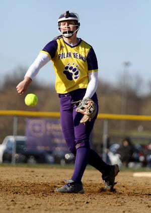 Jackson pitcher Julia Gossett delivers a pitch against Medina in the Polar Bears' home opener on Friday.