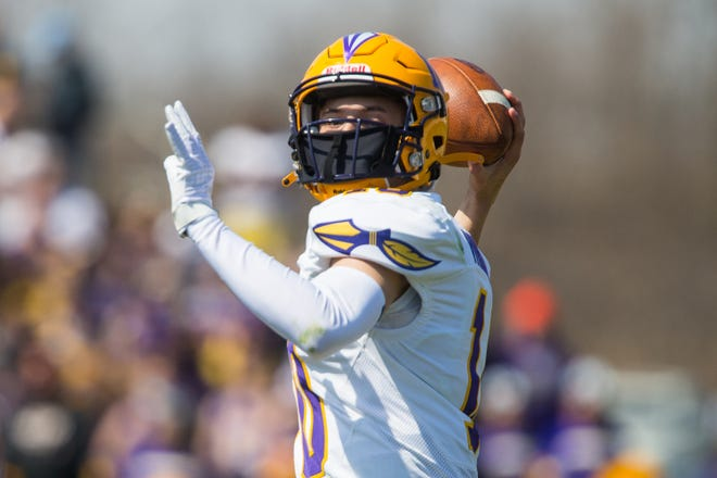 Hononegah's Isaac Whisenand, shown throwing against Boylan last week, ranks second in the NIC-10 in passing with 460 yards in three games.