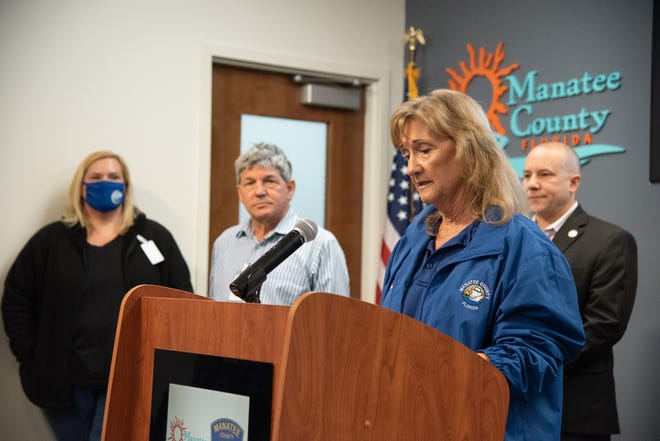 Manatee County Commissioner Vanessa Baugh speaks to the press Saturday about efforts to evacuate residents from the areas surrounding the Piney Point facility, where a breach has occurred in one of the wastewater retention ponds.