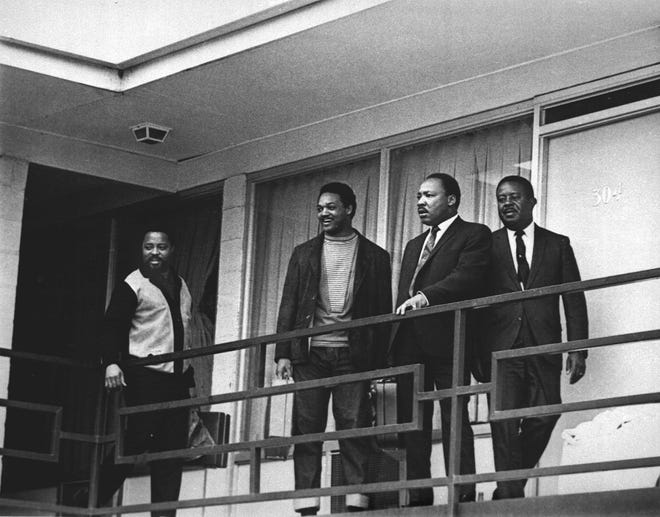 The Rev. Martin Luther King Jr. stands with other civil rights leaders on the balcony of the Lorraine Motel in Memphis, Tenn., on April 3, 1968, a day before he was assassinated at approximately the same place. From left are Hosea Williams, Jesse Jackson, King, and Ralph Abernathy. The 39-year-old Nobel Laureate was the proponent of non-violence in the 1960s American civil rights movement. King is honored with a national U.S. holiday celebrated in January.