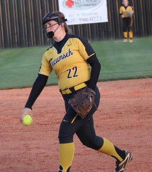 Tecumseh's Taylor Frizzell (22) delivers a pitch during a recent home game.