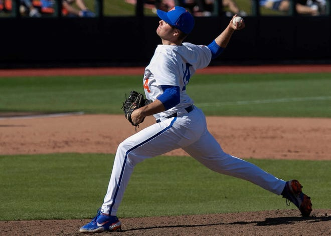 Christian Scott got the start for Florida against Ole Miss on Friday at Florida Ballpark. He allowed five hits over five innings, two runs, struck out seven and didn't issue a walk.