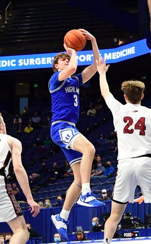 Sam Vinson drains a short jump shot in the 3rd period for Highlands in the quarterfinals at the KHSAA StateBasketball Championships, April 2, 2021.