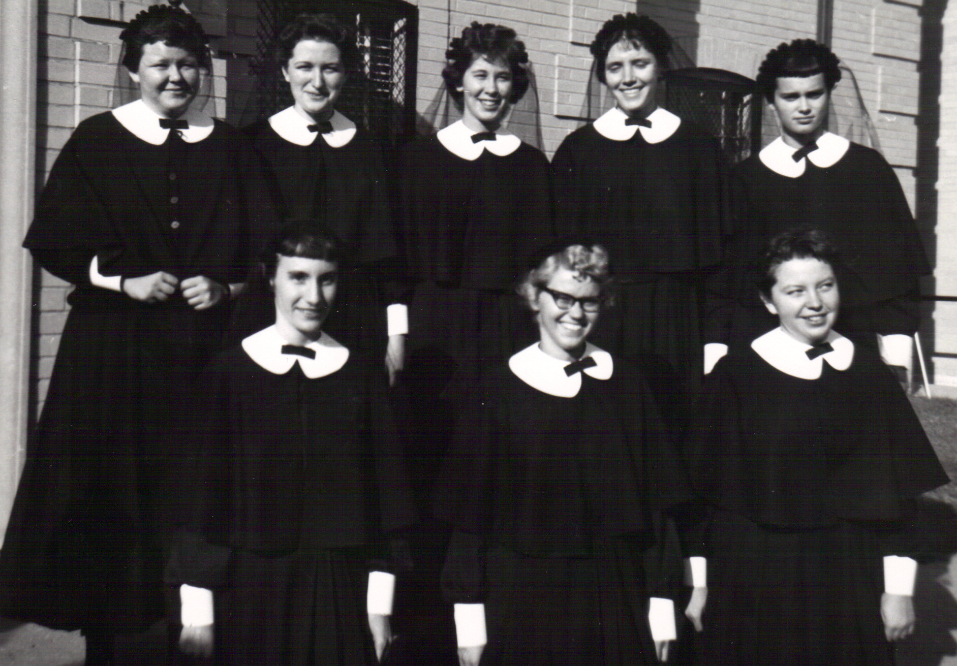 These young women were among the 31 women who entered the Sisters of Mercy community in Detroit in 1960. In their first year of studies, they were known as postulants. Of those 31 postulants, ten remain, sisters, today. Sister Mary Ellen Howard, a one-time CEO of former Mercy hospitals in Muskegon and Grayling and the former director of Detroit's Cabrini Clinic, is pictured top row, second from left. Also in the top row is Sister Marianne Bennett, far right, and Sister Margaret Platte, second from right.