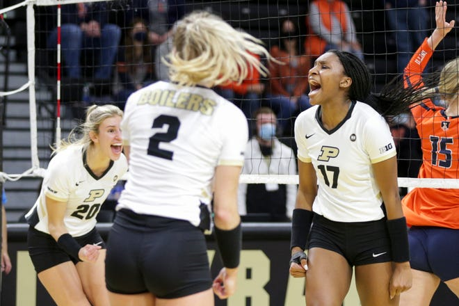 Purdue middle blocker Taylor Trammell (17) reacts after a point during the third set of an NCAA women's volleyball game, Friday, April 2, 2021 at Holloway Gymnasium in West Lafayette.