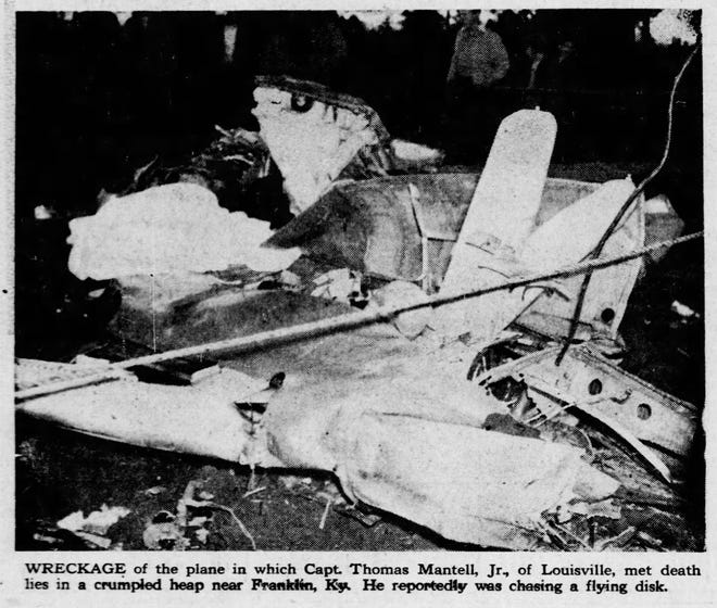 A Courier Journal archive photo depicts wreckage of the plane in which Capt. Thomas Mantell crashed and died. Jan. 9, 1948