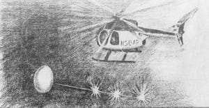 This Courier Journal illustration depicts what two police officers said they saw while doing a routine helicopter patrol on Feb. 27, 1993.