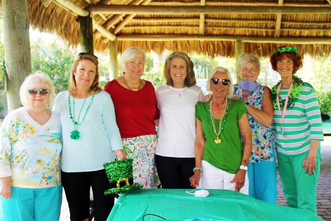 Debbie Fleming, Dolores Constanzeer, Hildie Kyes, Betsy Wohltman, Joannie Brannick, Debbie White and Susie Walsh are Irish for the day.