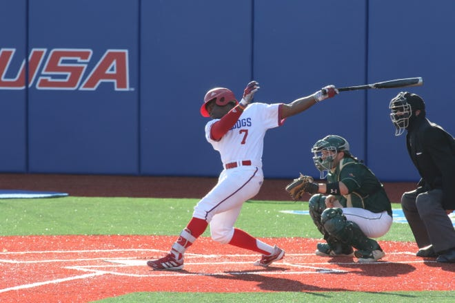 Louisiana Tech sophomore Adarius Myers (7) swings through a pitch against UAB Friday, April 2, 2021 at J.C. Love Field at Pat Patterson Park.